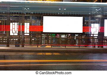 夜, バス停留所, ∥で∥, ブランク, 広告板