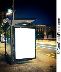夜, バス停留所