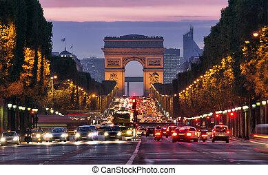 夜, パリ