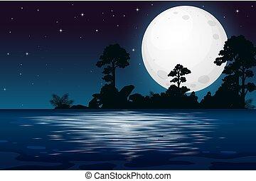 夜, フルである, 湖, 月