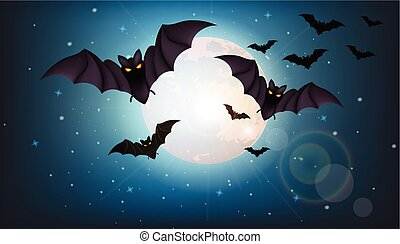 夜, フルである, moon., 飛行, ハロウィーン, コウモリ, vector., 概念