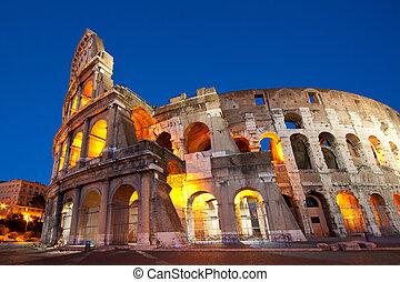 夜, ローマ, colosseum, イタリア