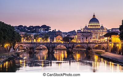 夜, 光景, ∥において∥, st. ピーター, 大聖堂, 中に, ローマ, イタリア