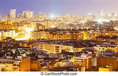 夜, 光景, の, バルセロナ, スペイン