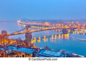 夜, 光景, の, ブダペスト