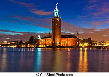 夜, 光景, の, 都市, ホール, 中に, ストックホルム, スウェーデン