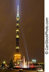 夜, 光景, の, ostankino, tv タワー, 中に, モスクワ