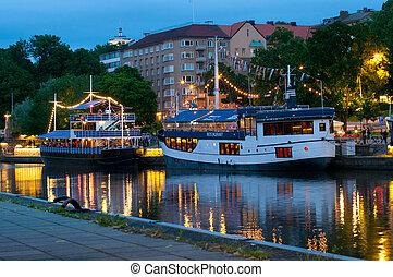 夜, 光景, turku, フィンランド, 川, 前兆