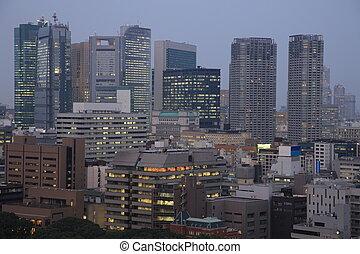 夜, 南, ソウル, の上, 高く, 照らされた, 都市, 韓国