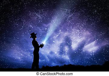 夜, 帽子, 投げる, 探検しなさい, 空, の上, stars., 梁, フルである, 人, magic., 夢, ライト