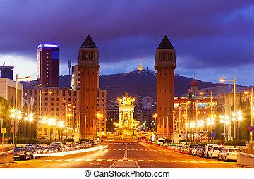 夜, 広場, バルセロナ, 光景, スペイン