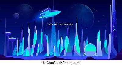 夜, 建築, 都市, 未来, ライト, ネオン