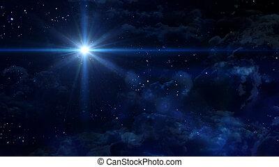 夜, 惑星, 星, 交差点, 星が多い, 青