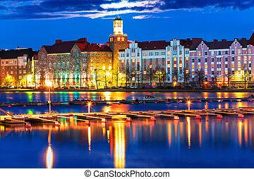 夜, 景色, の, ヘルシンキ, フィンランド
