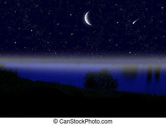 夜, 月の空, 半分