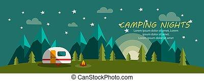 夜, 月, 木, キャンプ, 旗, 星, 火