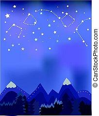 夜, 木, 風景, 山