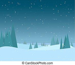 夜, 森林, イラスト, 冬