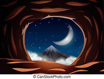 夜, 洞穴, 光景