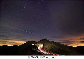 夜, 流星, 驚かせること, 伴いなさい, 星が多い