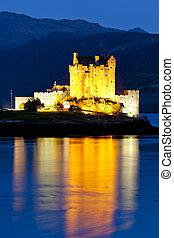 夜, 湖, スコットランド, donan, 城, eilean, duich