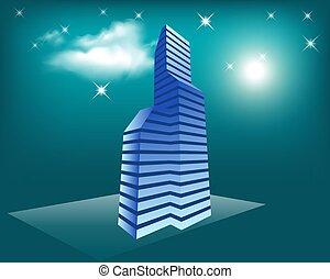夜, 白熱, 背景, 未来派, ネオン, 色, パノラマ, 照らされた, lights., 都市, ベクトル, 概念, 超高層ビル, すみれ, 青, 現代, 都市の景観