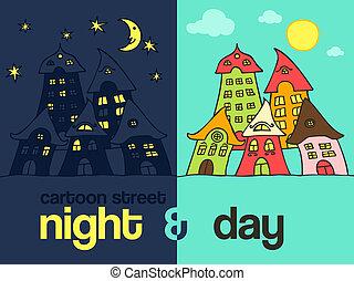 夜, 通り, 漫画, 日, &