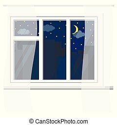 夜, 都市, カーテン, 白, 窓の眺め, 星, 都市, 三日月, 建物。, シルエット, プラスチック, 空, 雲