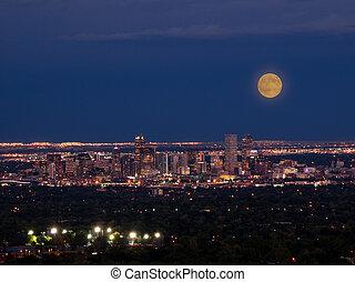 夜, 都市, デンバー, 高く, マイル