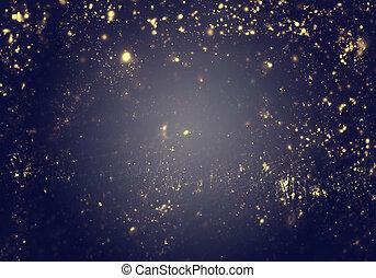 夜, -, 金, ライト, 背景, 抽象的, クリスマス, 都市, フラッシュ, flare., レンズ