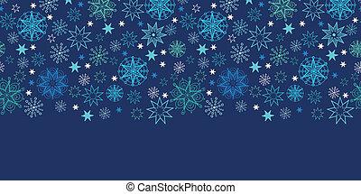 夜, 雪片, ボーダー, パターン, 背景, 横, seamless