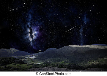 夜, 風景, 上に, ∥あるいは∥, 空, スペース, 山