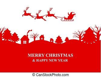 夜, 飛ぶ, シルエット, トナカイ, claus, sleigh, 村, santa, 上に