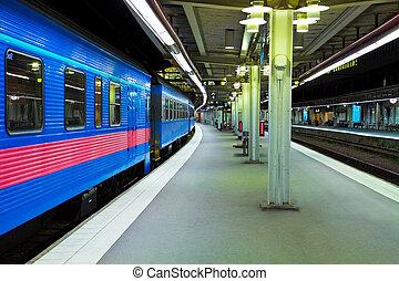 夜, 駅, 鉄道