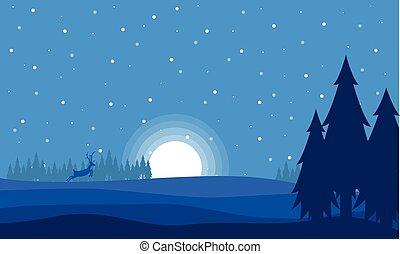 夜, 鹿, クリスマス, 風景, 月