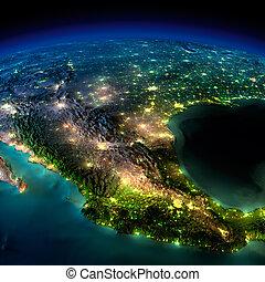 夜, earth., a, 小片, の, 北アメリカ, -, メキシコ\