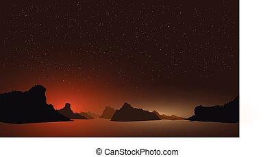 夜, ha-long, 光景, ベクトル, ベトナム