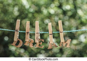 夢想, 詞, 寫, 所作, 垂懸, 木制, 信件, 上, 繩子, 在, 花園