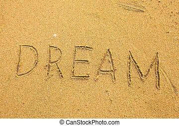 夢想, -, 題字, 在沙子上, texture.