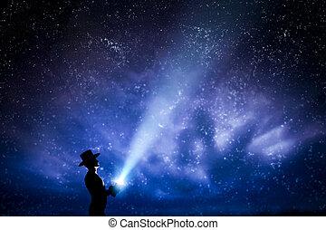 夢, フルである, 梁, 投げる, ライト, magic., 空, の上, stars., 夜, 探検しなさい, 帽子, 人