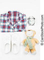夢, 上, よい, 背景, ベビーおもちゃ, 白, パジャマ, 光景