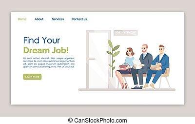 夢, 網, web ページ, ページ, 平ら, 雇用, 求人, ウェブサイト, インターフェイス, layout...