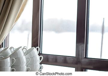大いに, の, コーヒーカップ, 上に, ∥, 窓, 背景