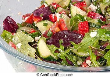 大きいガラス, 野菜, ボール, サラダ