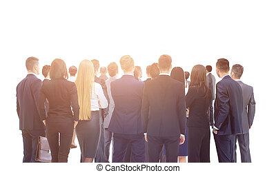 大きいグループ, の, ビジネス, 人々。, 上に, 白い背景