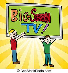 大きいスクリーンのテレビ