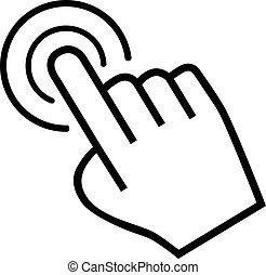 大きい手, カーソル, 背景, 白, アイコン