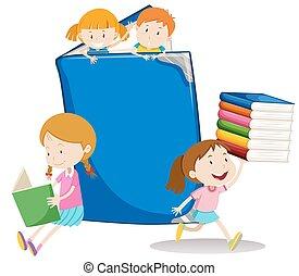 大きい本, 女の子, 男の子