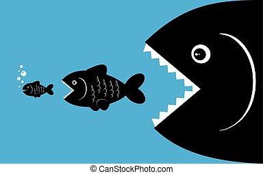 大きい魚, わずかしか, 食べなさい