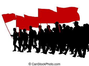 大きい, ほんの少し, 旗, 人々